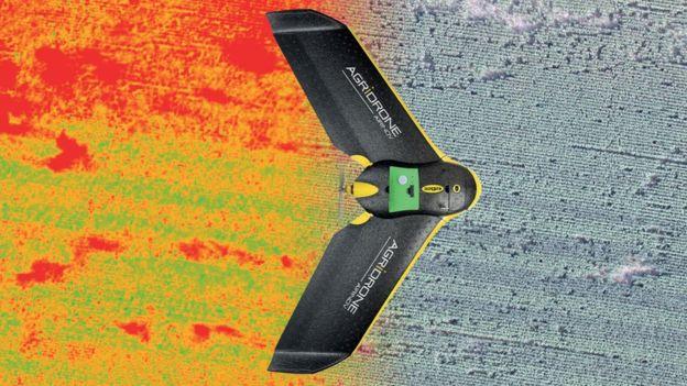 Drone graphic over field
