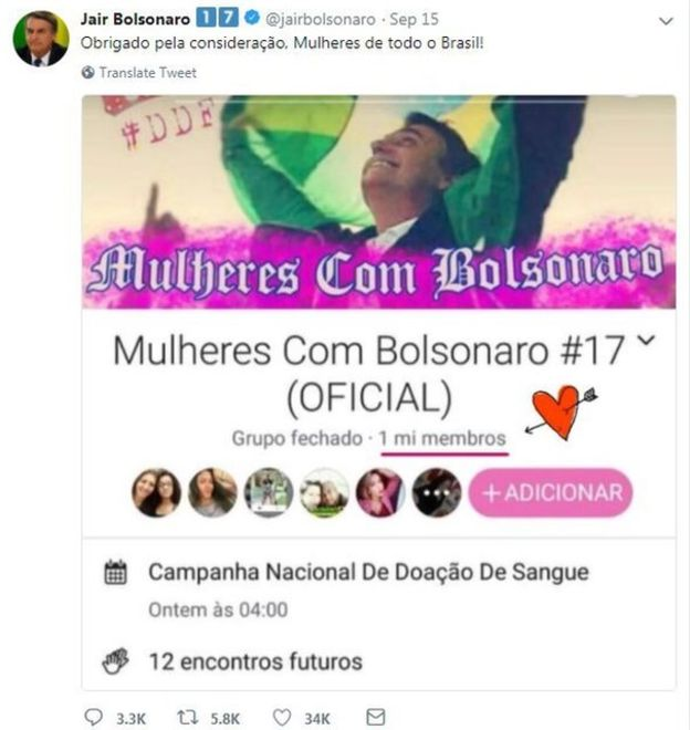 A screen grab of Bolsonaro